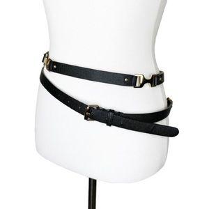 Ann Taylor Leather Double Wrap Skinny Belt Size XS